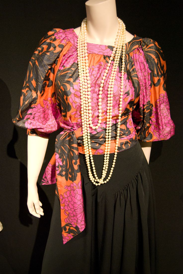 """Classic Yves Saint Laurent blouse, combined with pearls and a black skirt. -Another pic from the Exhibition """"Parcours d'une élégante"""", based on a mysterious donator, at The costume and textile Museum in Montreal #fashion #exhibition #mctq #montreal"""