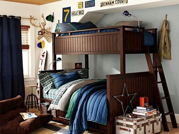 Bedroom, Bunk Beds Teenage Boys Room Idea With Dark Brown Wall Bunk Bed With Blue Blanket And Dark Blue Curtain And An Article With Picture About Boy Room Decorations With Some Design And Decoration Like Color Drawing Painting Wall Good ~ Ten Images Of Bedroom With Theme Boy Room Decorations