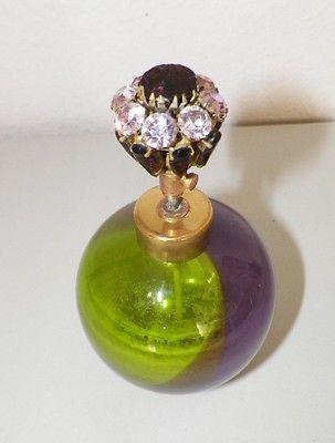VINTAGE-PURPLE-amp-GREEN-ART-GLASS-amp-RHINESTONE-PERFUME-BOTTLE
