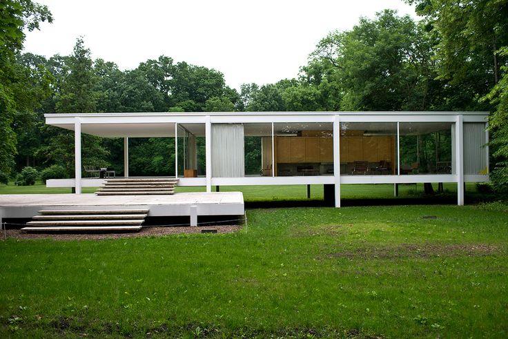 Casa farnsworth 1951 ad espa a cordon tres planos for Casa minimalista de mies van der rohe