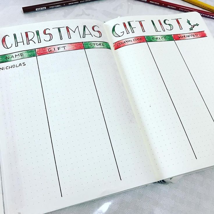 Christmas gift list spread for bullet journal  See this Instagram photo by @showmeyourplanner • 408 likes  Christmas bullet journal, gift planner, bullet journal gifts