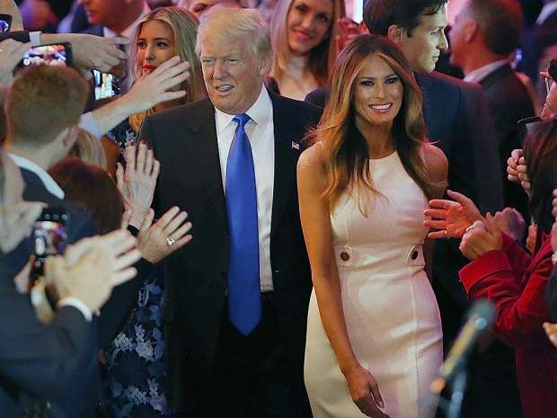Republican presidential candidate Donald Trump and his wife Melania Trump arrive to speak to supporters at #DonaldTrumpTalkingDoll #TrumpBlurbs