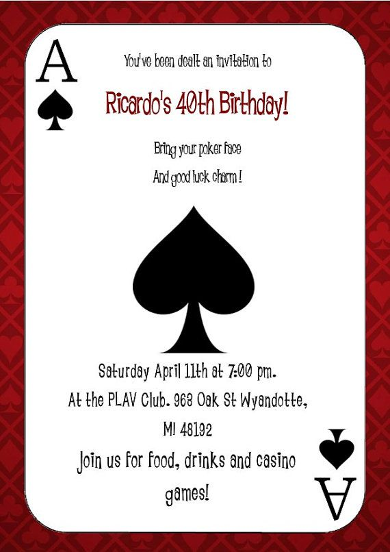 Ace of Spades Vegas Themed Party Invitation | Ace of ...