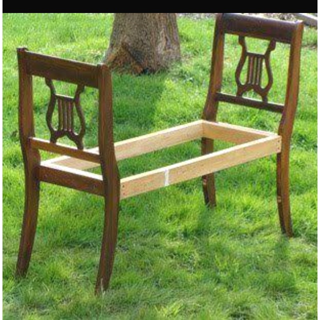 Take The Backs Of 2 Antique Chairs And Make A Bench!
