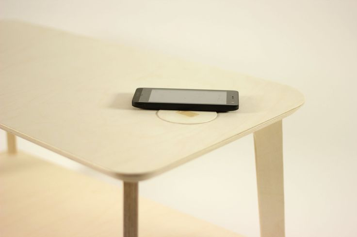 WIRED side table with wireless charger design by MICHAEL ARAUJO machined birch plywood made with TheFabFamily