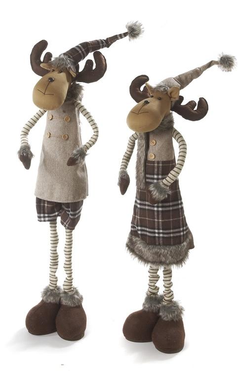 "53""(34"") Standing Moose-Brn- Asst 2 Stretchy leg"