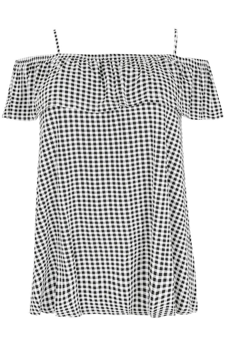 Black & White Gingham Frill Jersey Bardot Top