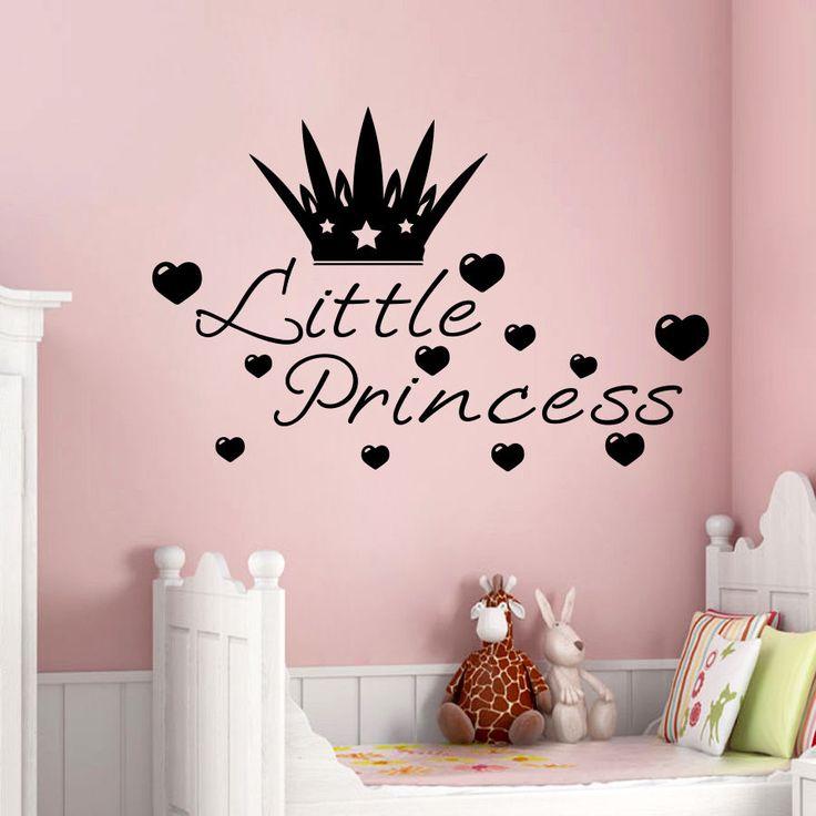 Wall Decals Little Princess Crown Heart Lettering Girls Room Vinyl Sticker MR453 #STICKALZ #MuralArtDecals