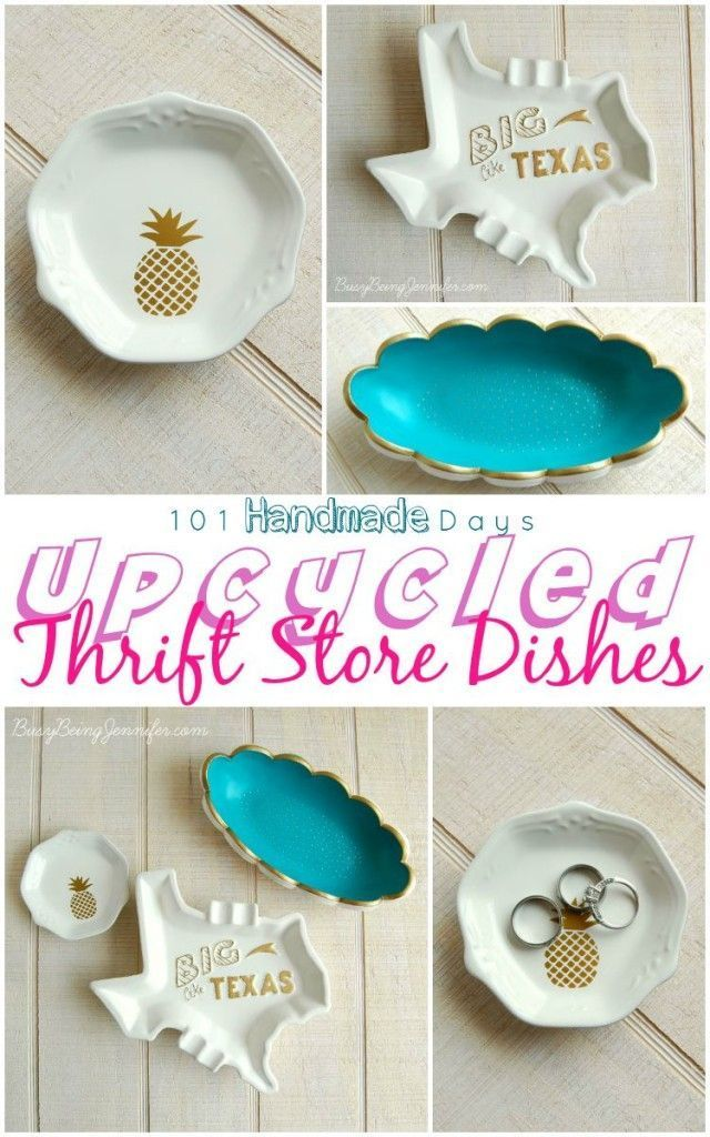 Upcycled Thrift Store Dishes - BusyBeingJennifer.com #101handmadedays | A#2usestuesday Feature