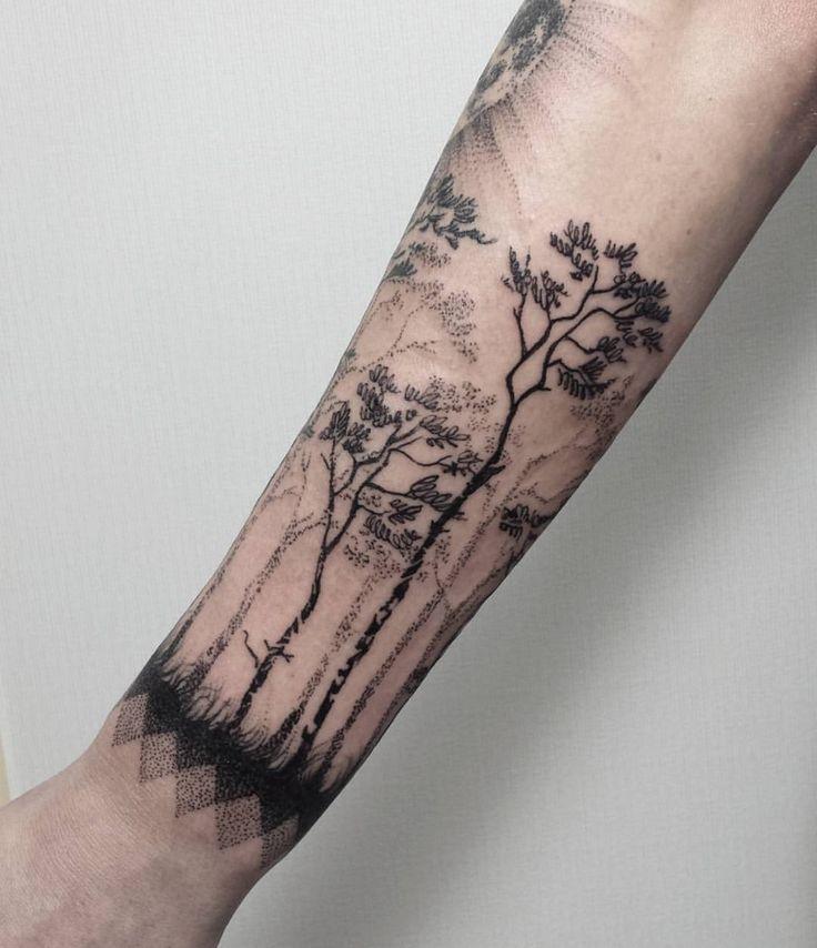 "Polubienia: 160, komentarze: 2 – HIPNER (@hipner.magdalena) na Instagramie: ""3 #las #wilk #księżyc #drzewa #tatuaż #trees #forest #tattoo #black #moon #wolf #blackwork #dotwork…"""