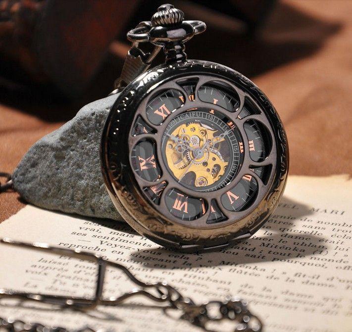 montre à gousset mécanique Marguerite Noire II, squelette.