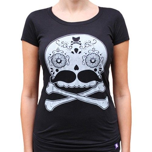 Handmade Gifts | Independent Design | Vintage Goods Day of the Dead Skull Tee - Ladies - Tees - Apparel - Girls
