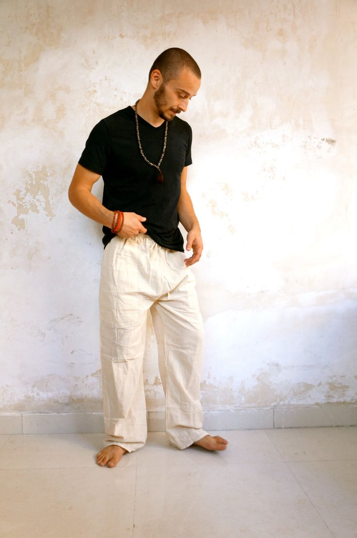White Beige Cotton Yoga Pants, Straight Leg with pockets, Unisex Trousers, Great Pajama Bottoms for a Hippie Hipster look and feel by YogapactShop on Etsy