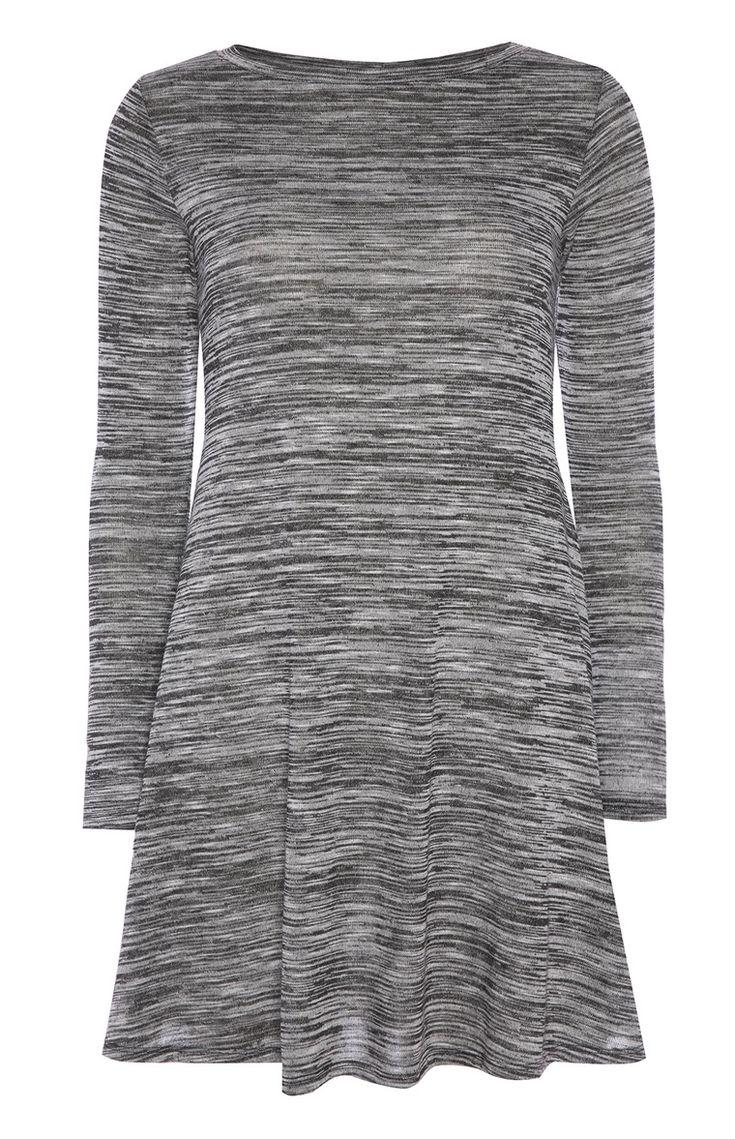 Primark - Vestido de hilo flameado gris con vuelo