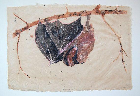 Silver-Haired Bat Lasionycteris noctivagans No. 2, pulp painting  by LionOfBali