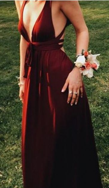 burgundy long prom dress, evening dresss