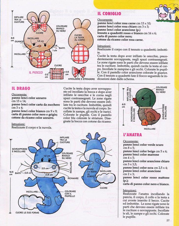 Cartamodelli e schemi per animali di pannolenci   Animali pannolenci coniglio drago anatra   Foto