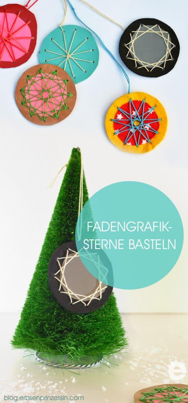 Fadengrafik-Sterne basteln #Christbaumschmuck #Weihnachten #erbsenprinzessin #stern #Weihnachten #Selbermachen