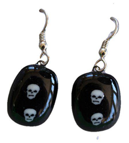 Jewels of Fire Twin Skull Glass Drop Earrings for Halloween