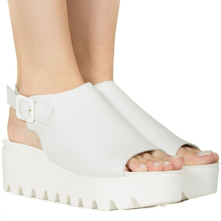 Sandália flatform branca com sola branca de couro Taquilla - Taquilla - Loja online de sapatos femininos
