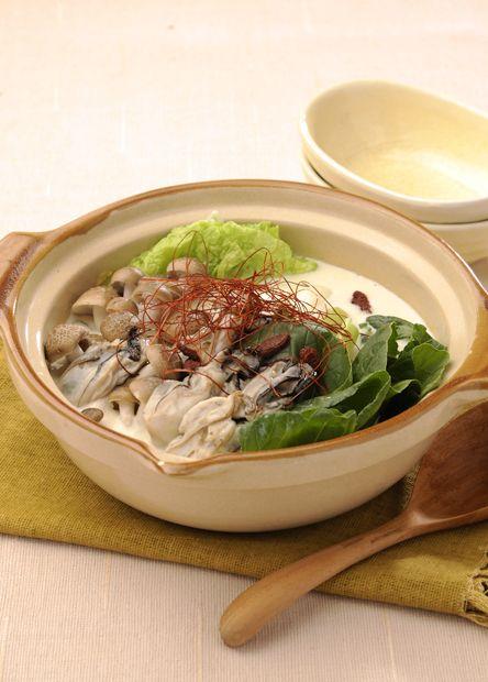 牡蠣(かき)の豆乳鍋 (レシピNo.2107) ネスレ バランスレシピ