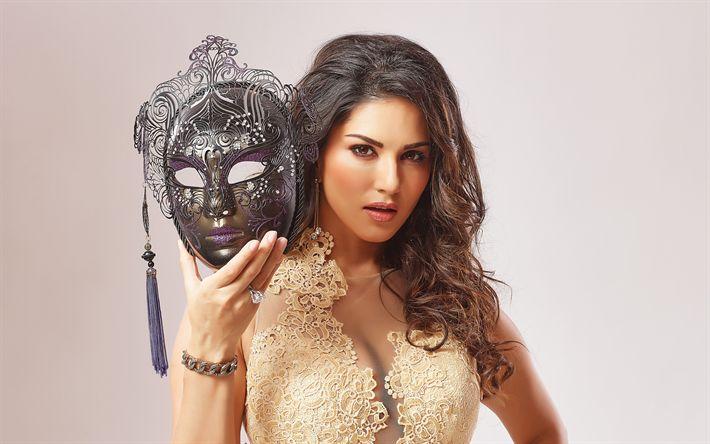 Descargar fondos de pantalla Sunny Leone, la actriz India, 4k, mascarada, retrato, Bollywood, las mujeres de la India, Indio vestido de noche