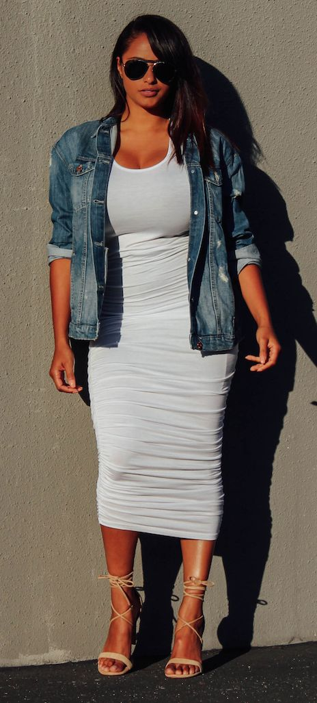 Denim jacket x White maxi dress | beyondherreality.com