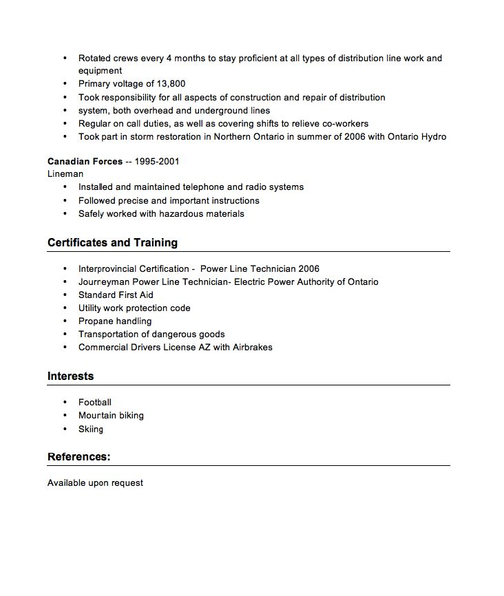 Power Line Technician Resume / Sales / Technician - Lewesmr - line mechanic sample resume