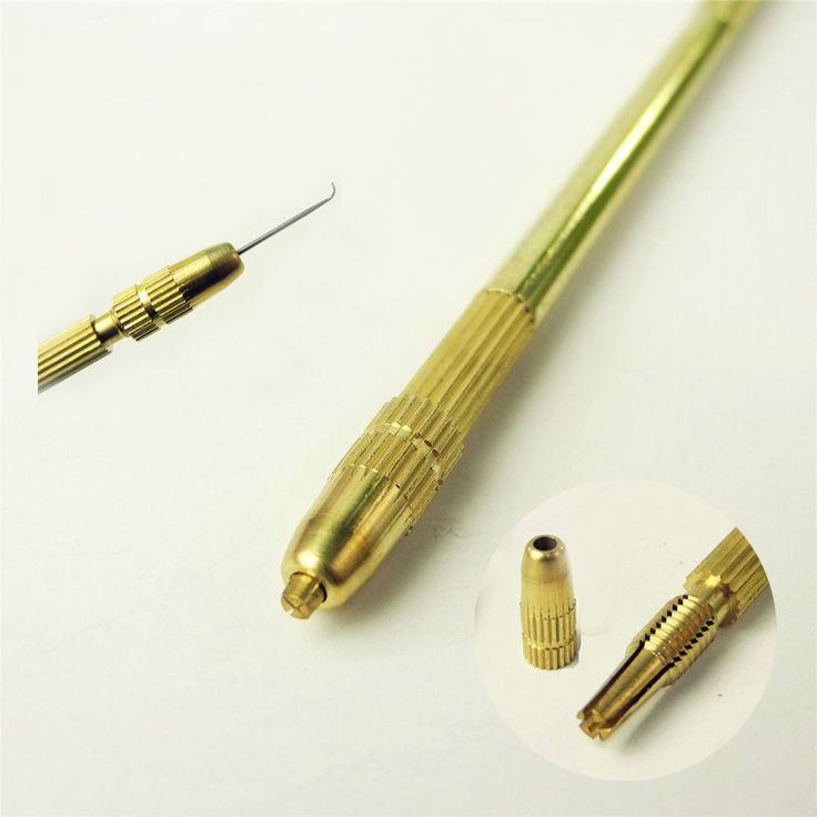 4 pcs Ventilasi Needles + 1 Kuningan Pemegang Membuat/Membuat/Perbaikan Renda Wig Rambut Palsu Sopak Wig Knotting Kait set