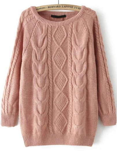 Pink Long Sleeve Cable Knit Loose Sweater -SheIn(Sheinside) Mobile Site
