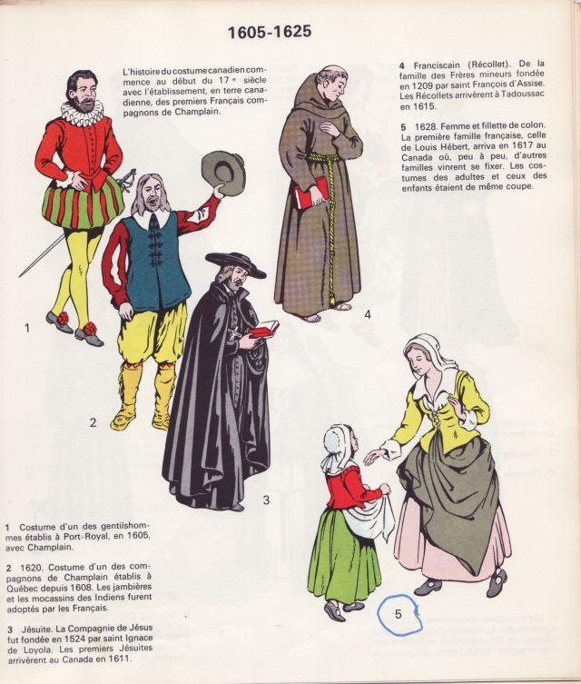 Costumes de la Nouvelle-France, période 1605-1625. Image extraite du livre de Rodolphe Vincent, Notre costume civil et religieux, Montréal, c.1965.