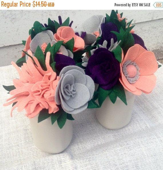 SHOP SALE Mason Jar Felt Flower Bouquet Felt Flowers by tkCo