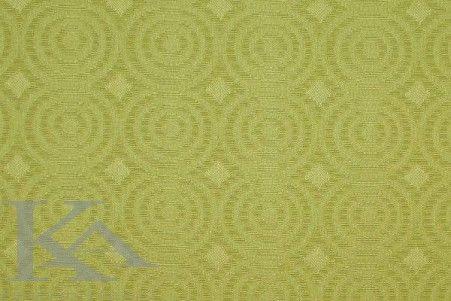 Cercuri cu un aer retro pe o tesatura cu doua fete: pe fata este verde-lime, iar pe spate aceasta este combinata cu o nuanta neutra.