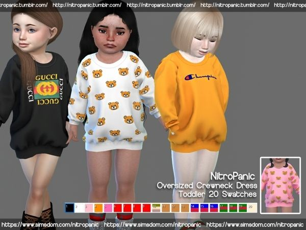 f2688ecff Oversized Crewneck Dress (Toddlers) - The Sims 4 Download ...