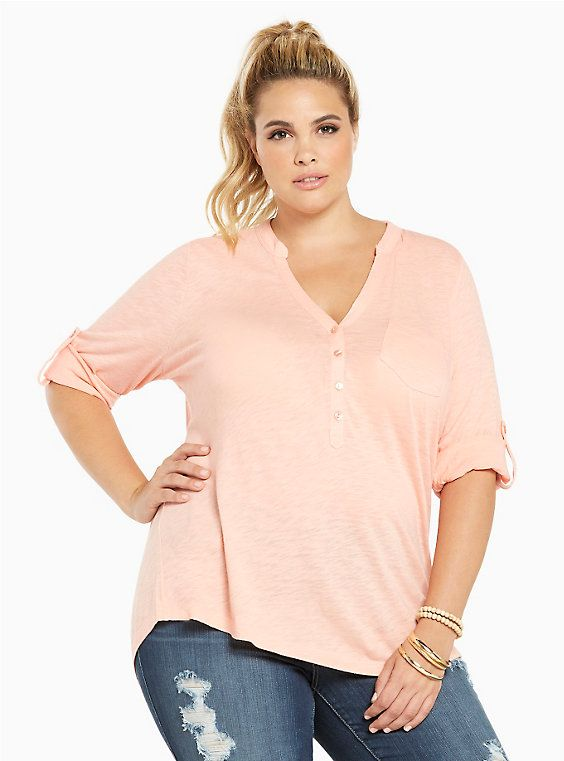 Pullover Henley Tee, APRICOT BLUSH