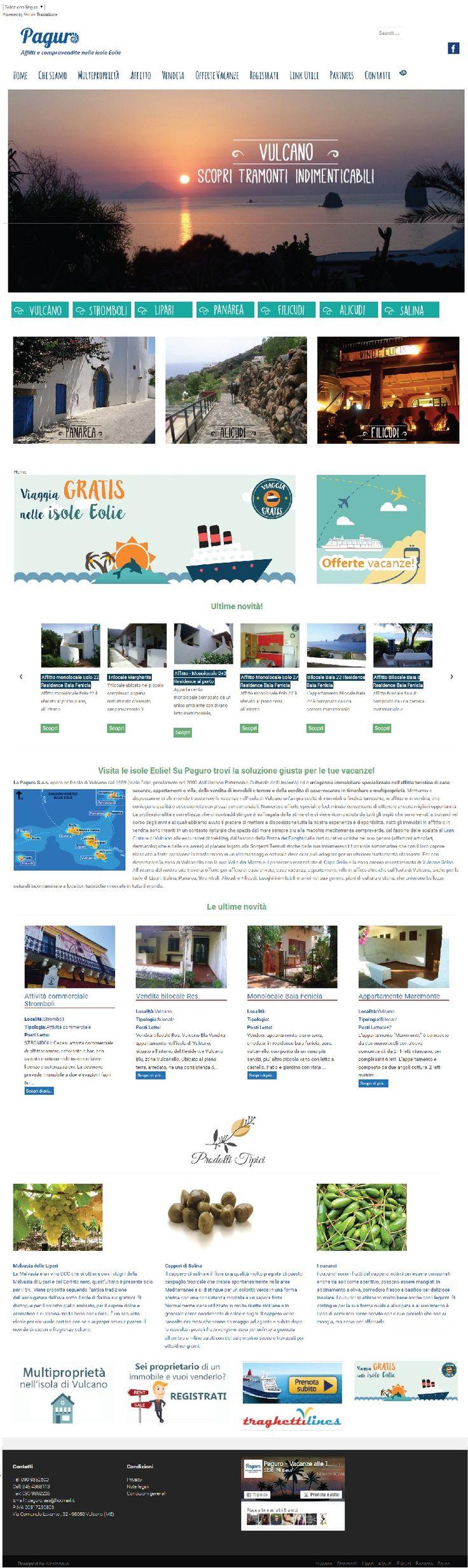 Sito #web realizzato con #Wordpress per Paguro, affitta case vacanze nelle Isole Eolie