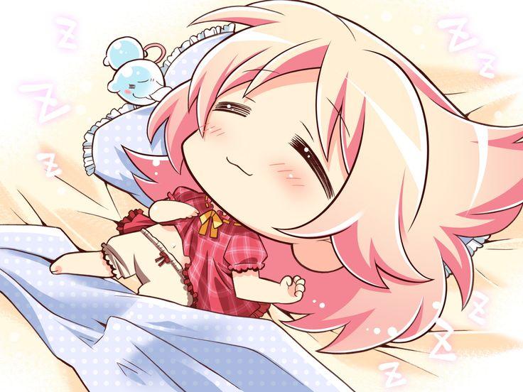 chibi sleeping anime chibis pink kawaii kawaiitime hair kurama taringa characters whicdn