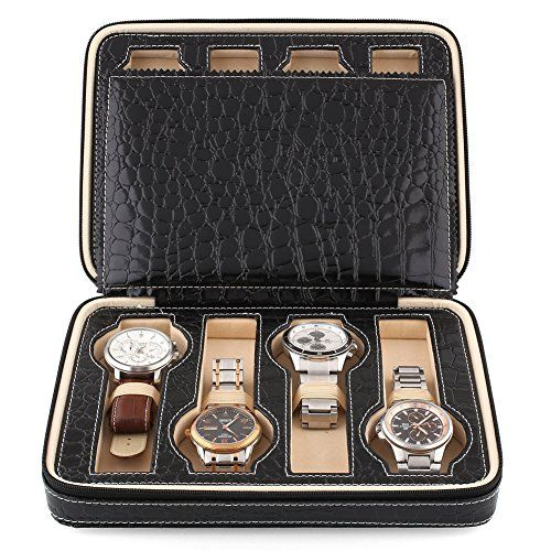 News Amzdeal®  Eight 8 Slot Zippered Luxury Jewelry Leatherette Crocodile Pattern Case ,Watch Display Case ,Watch Travel Case, Watch Box,Watch Storage Organizer Collector Case (Black)   buy now     $89.99 Feature:     Product Material :PU + MDF + flannel    Product Size :24.5 * 18 * 6cm    Product Weight: 530g   Package Size : ......