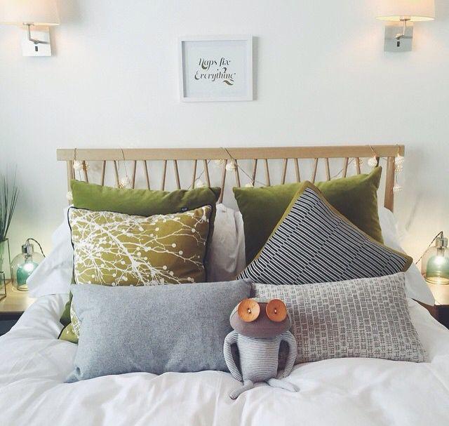 white, grey & green bedroom