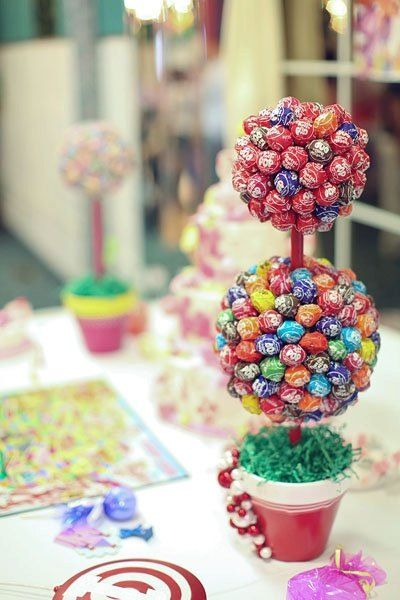 Candy topiary made with Tootsie Roll pops