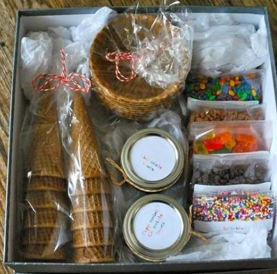 Sundae In a Box: This is a cute gift for families, kids, or for ice cream lovers in general.  All they have to do is add ice cream and they're all set.  There's even a recipe here for an easy chocolate sauce to include in the box.  BTW, large shoeboxes work great for this gift.  Just cover them with some nice paper and you're all set.