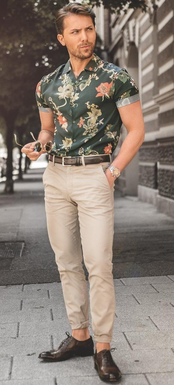13 Fresh Ways To Style Dress Shirts In 2020 Men Fashion Casual Outfits Men Floral Shirt Mens Summer Outfits [ 1347 x 609 Pixel ]