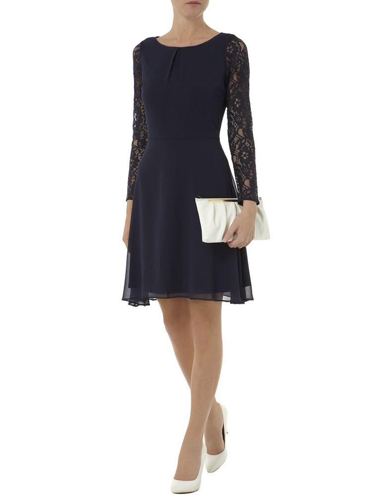 Photo 4 of Navy lace chiffon swing dress