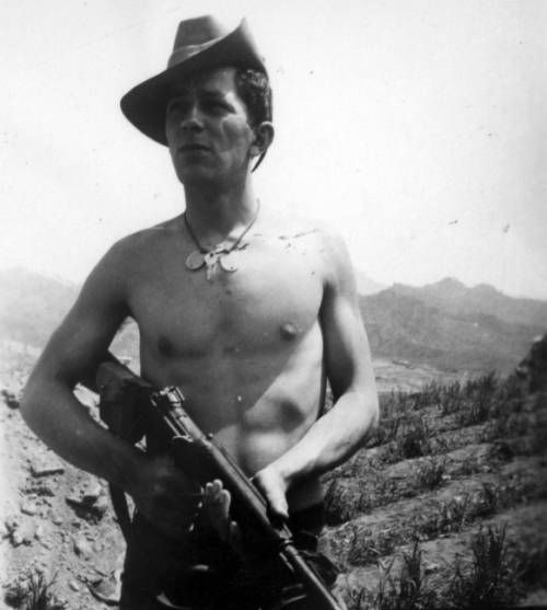Page 1 :: Martin J. Bolhower, shirtless with campaign hat :: Korean Digital Archive. http://digitallibrary.usc.edu/cdm/ref/collection/p15799coll48/id/4206