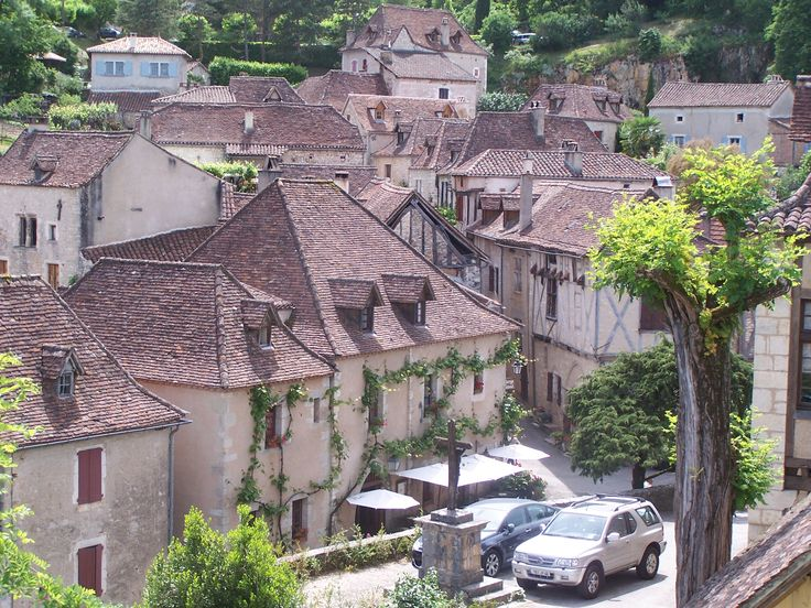 San Cirque Lapopie, France.  interesting roof line shapes