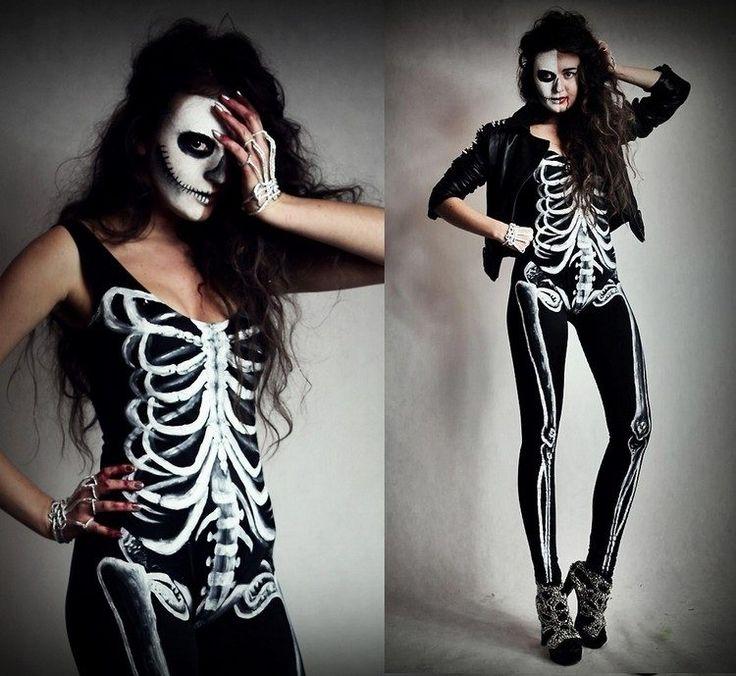 déguisement Halloween femme 2016 et costume de squelette avec maquillage blanc
