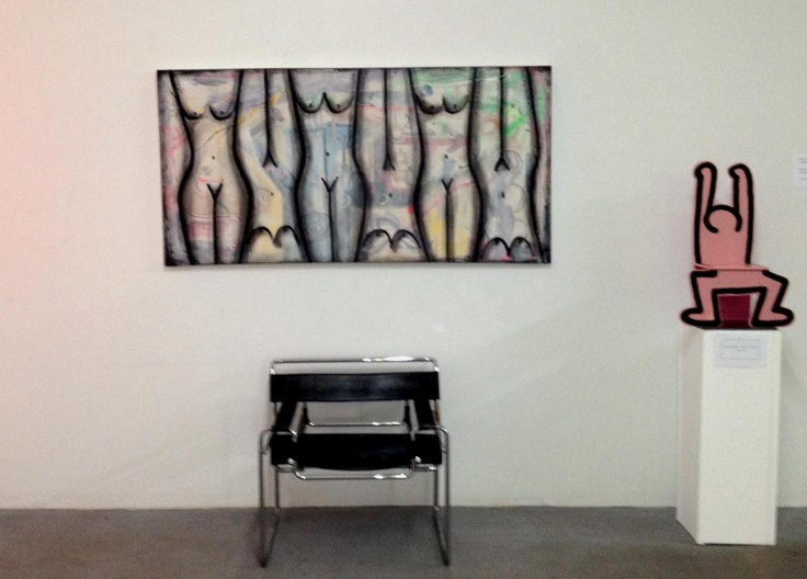 Women on the Beach Series Original ©2012 Pop Artist Michael Perez    Gallery 212 Miami    Kempinski chair, original, on loan from private collection.  Limited Edition Keith Haring chair.