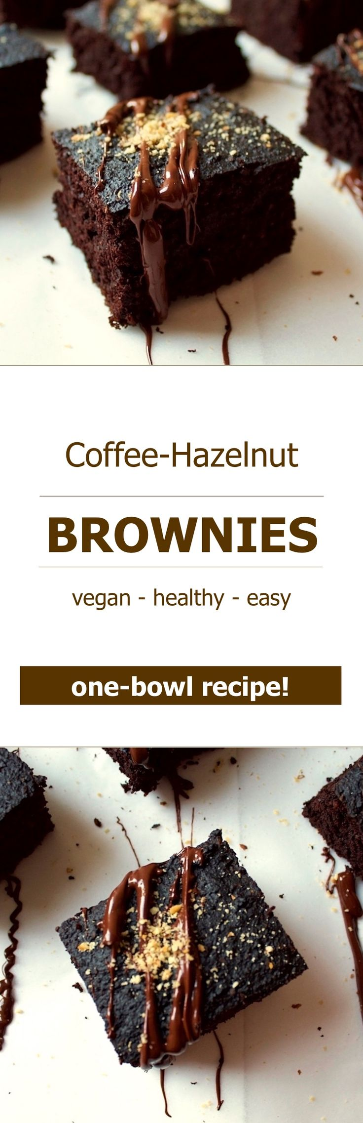 These soft and vegan coffee-hazelnut brownies are super delicious and easy to make. This one-bowl brownie recipe is healthy too!