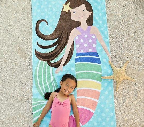 Rainbow Mermaid Kid Beach Towel Brunette Mermaid Beach