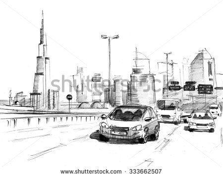 Pencil sketch of a skyline of modern buildings in Dubai, UAE